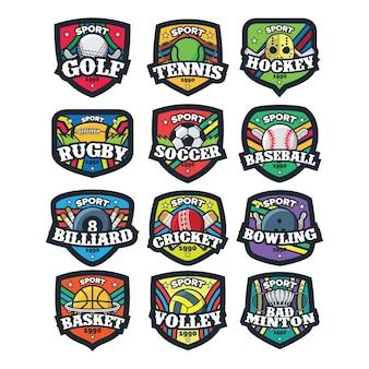 12 ilustração em vetor logotipo esporte
