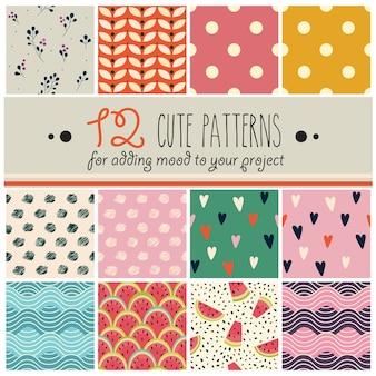12 padrões definidos em estilo infantil fofo