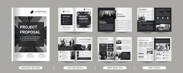 12 páginas de modelo de brochura de proposta de projeto minimalista multifuncional de cor preta com capa