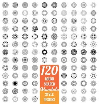 120 mandala estilo design coleção