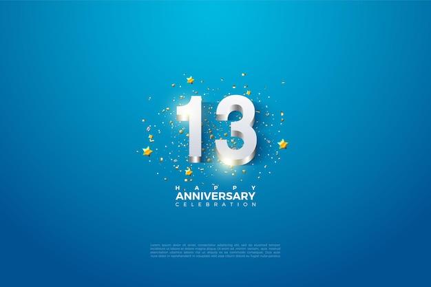 13º aniversário com dígitos de prata brilhantes.