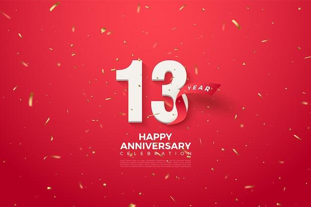 13º aniversário com ilustração dos números e fita vermelha curvada atrás dos números.
