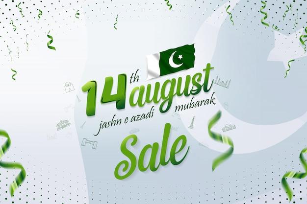 14 de agosto de jashn-e-azadi mubarak paquistão dia da independência venda banner
