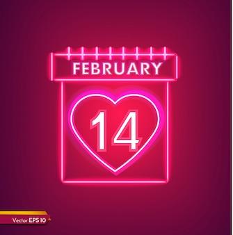 14 de fevereiro calendário em neon