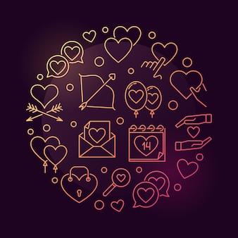 14 de fevereiro colorido contorno redondo conceito icon ilustração