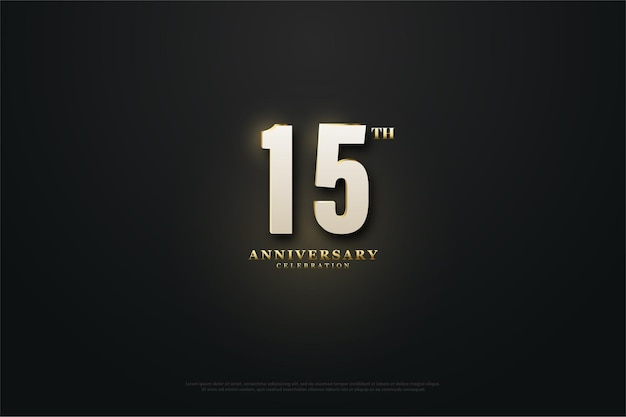 15º aniversário com efeito de luz no meio do fundo