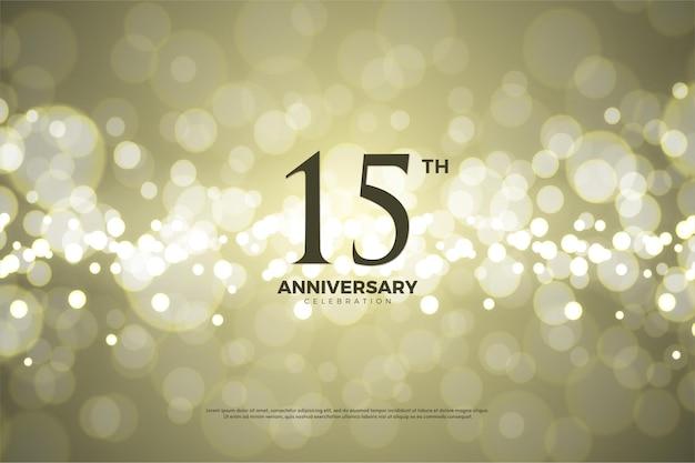 15º aniversário com fundo de folha de ouro
