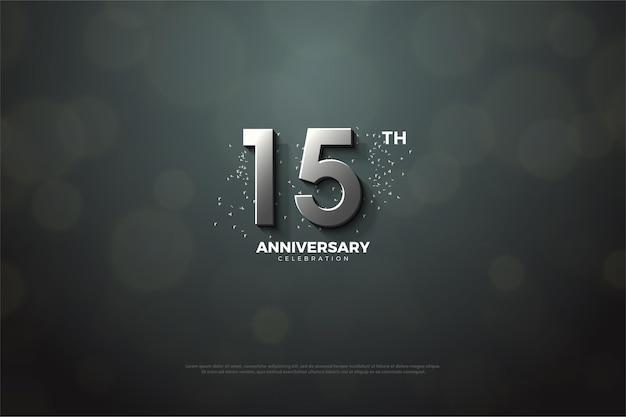 15º aniversário com números de prata