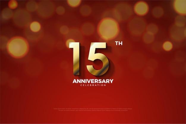 15º aniversário com números dourados e sombras recortadas