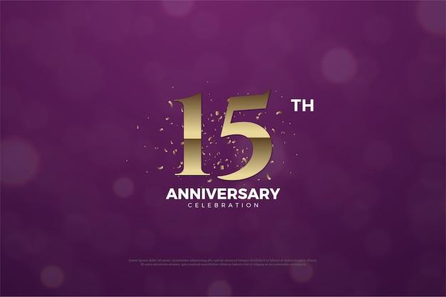 15º aniversário com números dourados e uma mancha no verso do número