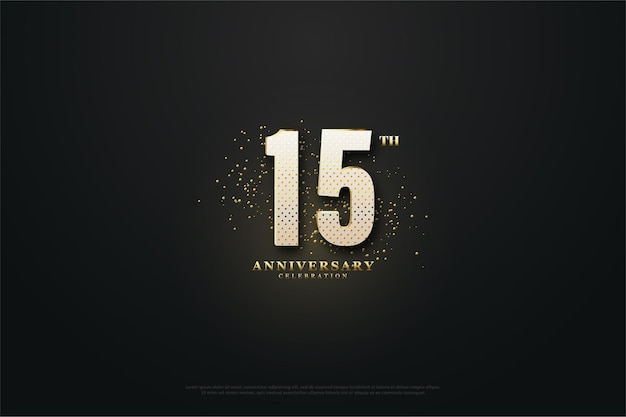 15º aniversário com números e areia dourada como decoração