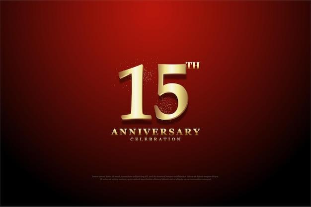 15º aniversário com números e uma vinheta em um fundo vermelho