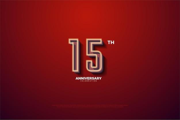 15º aniversário com números listrados de branco leitoso