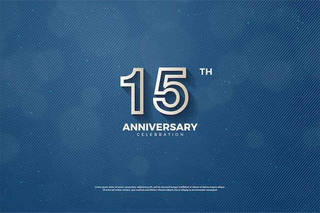 15º aniversário com números listrados em marrom dourado