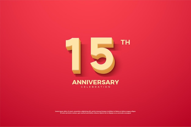 15º aniversário com números sombreados no fundo vermelho