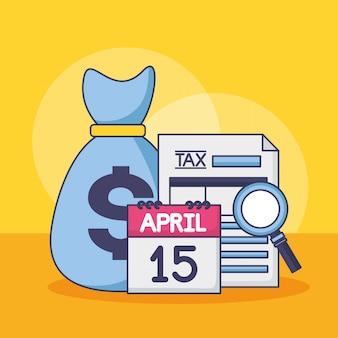 15 de abril. conceito de pagamento de imposto