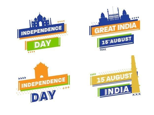 15 de agosto, índia texto do feliz dia da independência com o famoso monumento