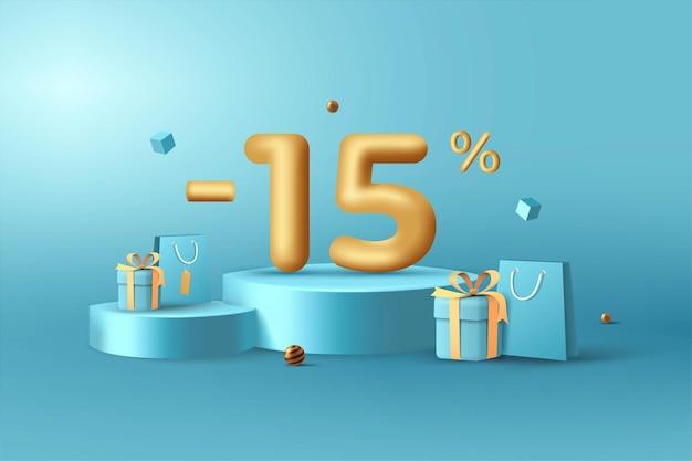 15% de desconto em números de desconto em ouro 3d no pódio com sacola de compras e caixa de presente