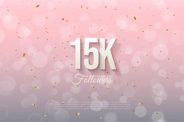 15 mil seguidores com fundo rosa redondo