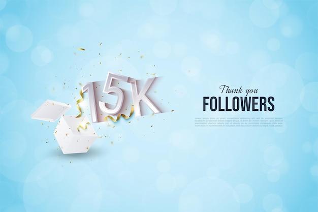 15 mil seguidores com números ilustrados que saem das caixas de presente.