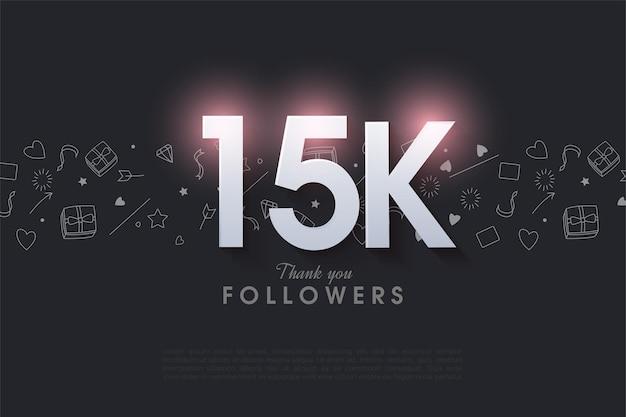 15 mil seguidores com números que se iluminam no topo.