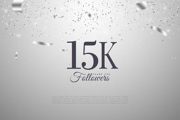 15k seguidores com fitas de prata que caem sobre os números.