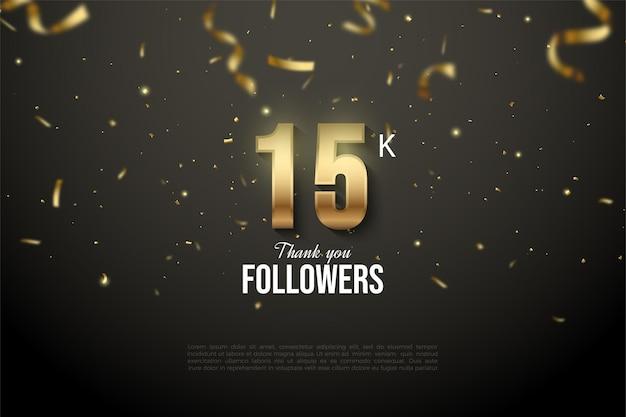 15k seguidores com fitas e números de ouro caídos.