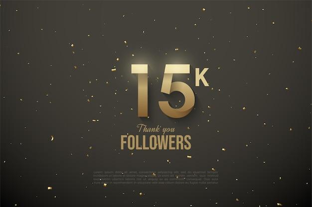 15k seguidores com ilustração da figura marrom dourado no espaço sideral.