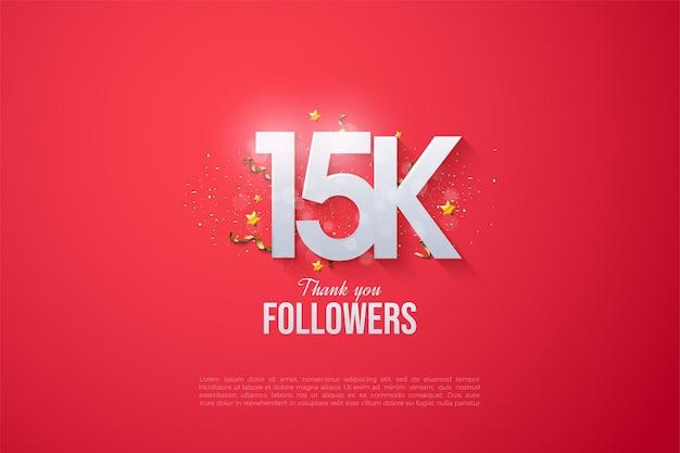 15k seguidores com números brancos brilhantes.