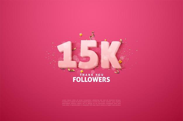 15k seguidores com números brancos suaves.