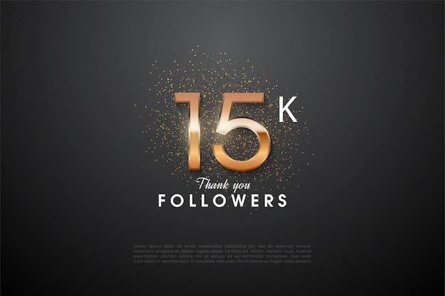 15k seguidores com números brilhantes no meio e glitter no verso dos números.