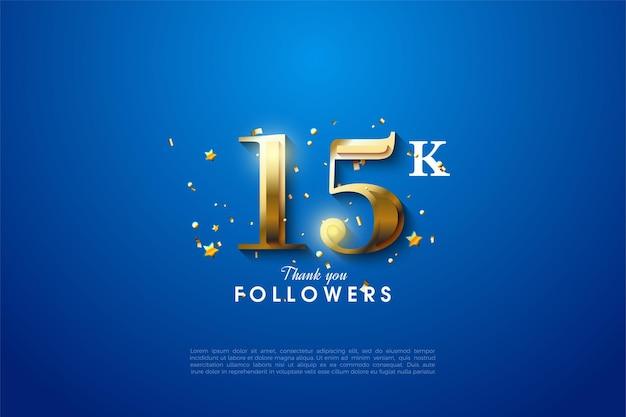 15k seguidores com números dourados sobre fundo azul.