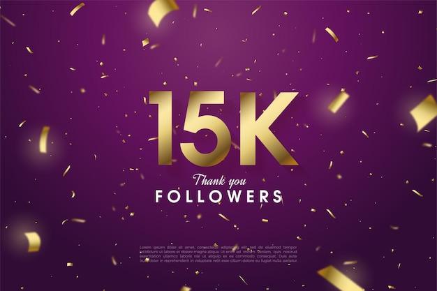 15k seguidores com números e salpicos de folha de ouro no fundo roxo escuro.
