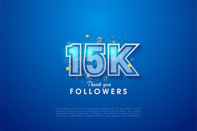 15k seguidores com números em negrito com bordas brancas.