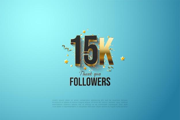 15k seguidores com números pretos banhados a ouro.