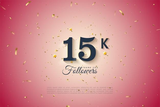 15k seguidores com números pretos em um fundo gradiente redondo.