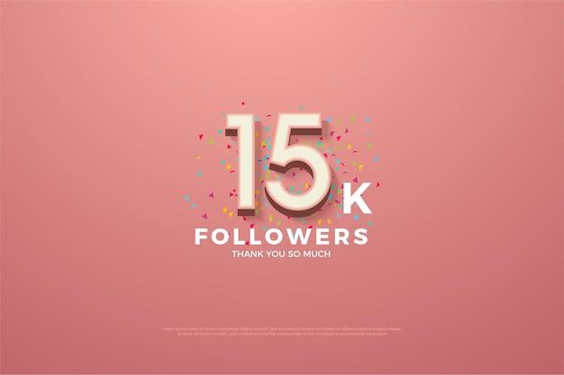 15k seguidores fundo rosa com números e pequenos granulados de papel colorido.