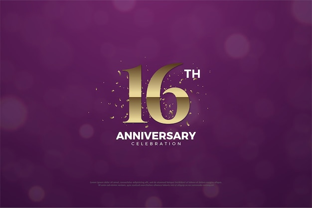 16º aniversário com algarismos dourados acastanhados