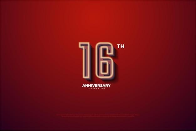 16º aniversário com borda branca suave