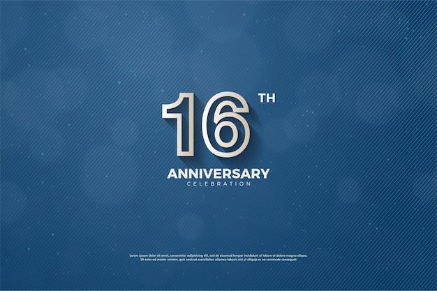 16º aniversário com borda marrom no número
