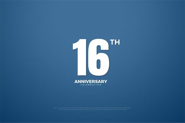 16º aniversário com design plano