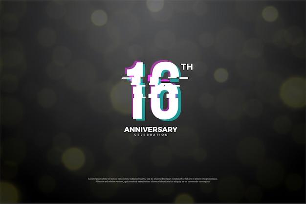 16º aniversário com efeito de falha de número