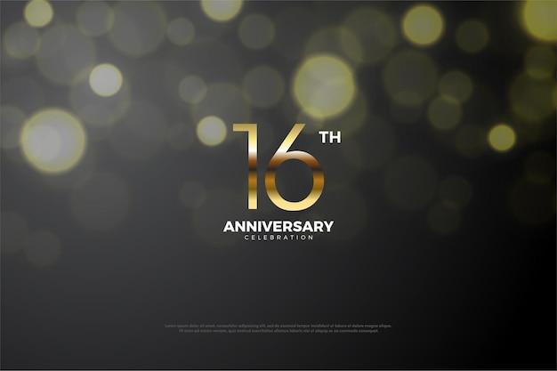 16º aniversário com efeito de número e círculo de luz