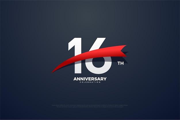 16º aniversário com fita vermelha cônica