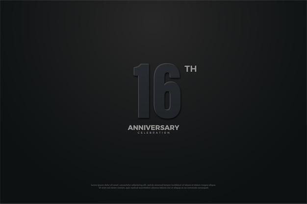 16º aniversário com ilustração de número em tema escuro