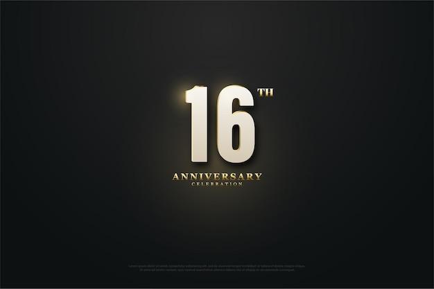 16º aniversário com ilustração de número iluminado