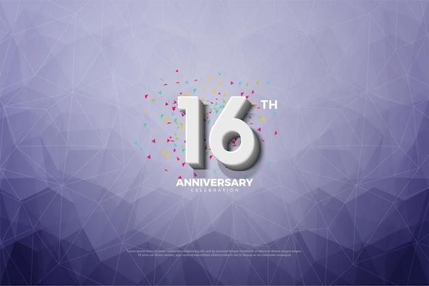 16º aniversário com ilustração em papel cristal