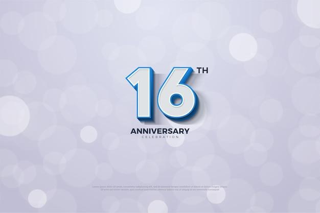 16º aniversário com número 3d em relevo