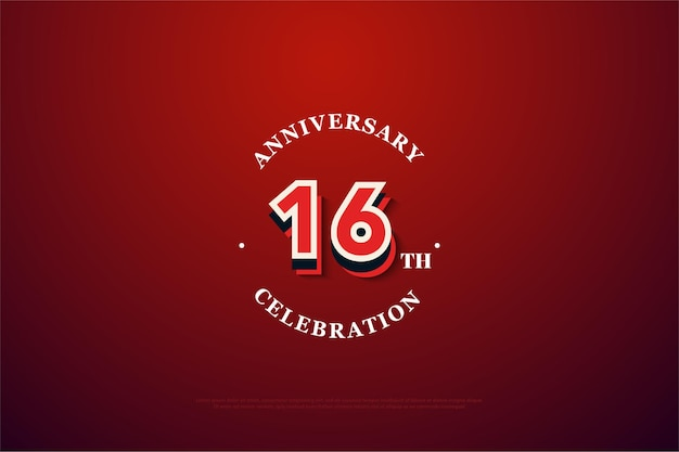 16º aniversário com número 3d