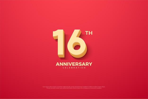 16º aniversário com número animado